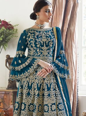 Embroidered Net Designer Palazzo Salwar Suit in Rama