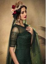 Embroidered Net Floor Length Anarkali Suit in Green