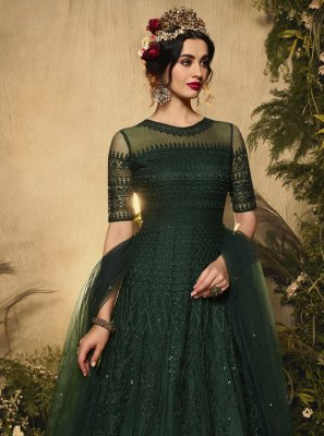 Embroidered Net Floor Length Anarkali Suit in Green
