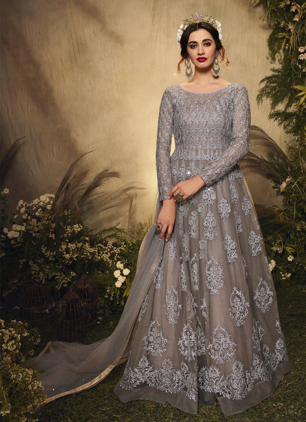 Embroidered Net Floor Length Anarkali Suit in Grey