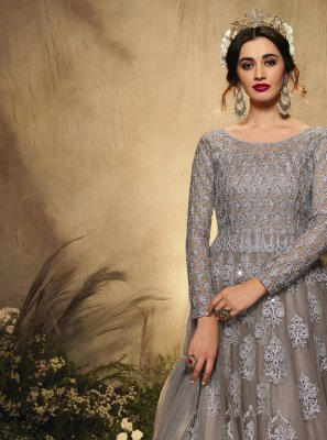 Embroidered Net Floor Length Anarkali Suit in Grey