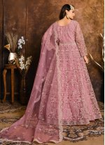 Embroidered Net Floor Length Anarkali Suit in Pink