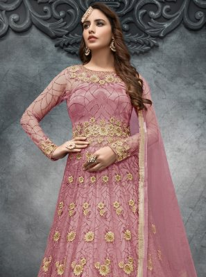 Embroidered Net Long Choli Lehenga in Pink