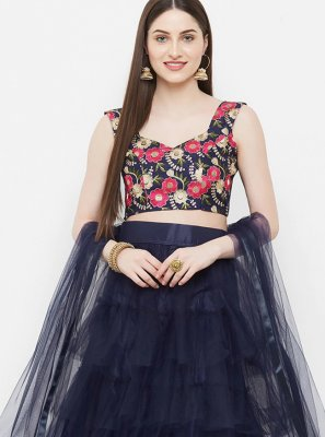 Embroidered Net Navy Blue Readymade Lehenga Choli