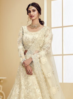 Embroidered Net Off White Lehenga Choli