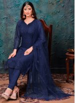Embroidered Net Pant Style Suit in Blue
