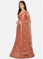 Embroidered Net Peach A Line Lehenga Choli