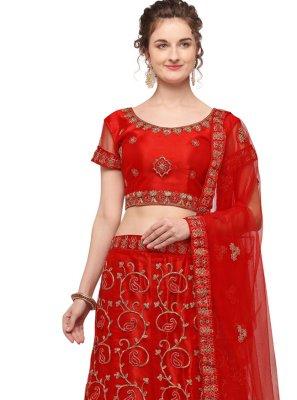 Embroidered Net Red Lehenga Choli