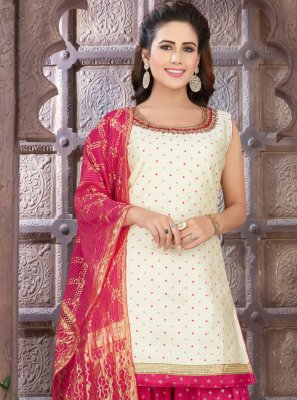 Embroidered Off White Art Silk Readymade Suit