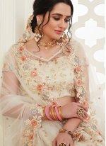Embroidered Off White Banglori Silk Bollywood Lehenga Choli