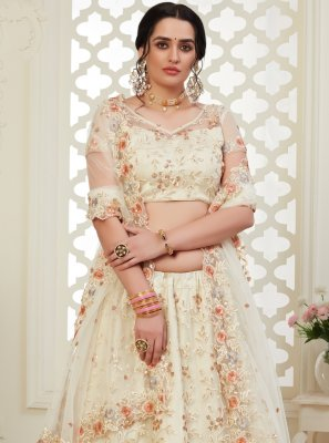 Embroidered Off White Banglori Silk Bollywood Lehenga Choli