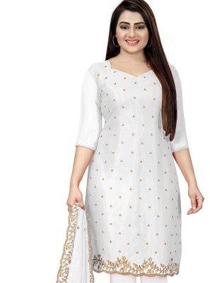 Embroidered Off White Churidar Designer Suit
