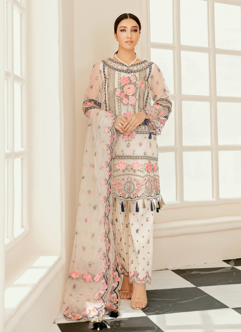 Embroidered Off White Designer Pakistani Salwar Suit