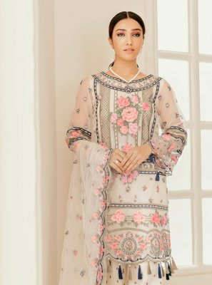 Embroidered Off White Designer Pakistani Salwar Suit