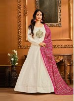 Embroidered Off White Floor Length Anarkali Suit