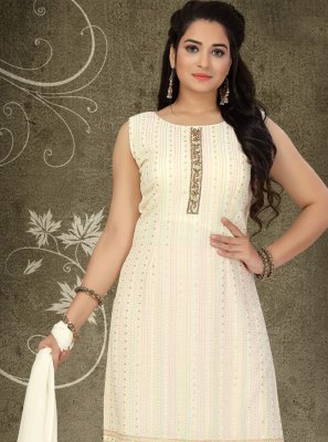 Embroidered Off White Georgette Readymade Suit