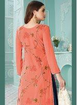 Embroidered Orange Faux Georgette Designer Palazzo Salwar Kameez