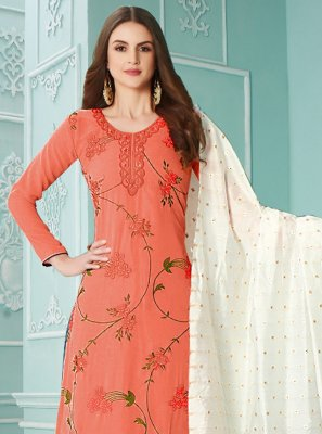 Embroidered Orange Faux Georgette Designer Palazzo Salwar Kameez