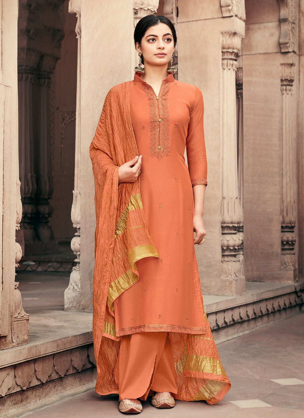 Embroidered Orange Muslin Designer Palazzo Salwar Suit