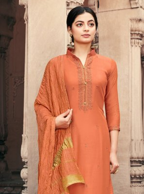 Embroidered Orange Muslin Designer Palazzo Salwar Suit