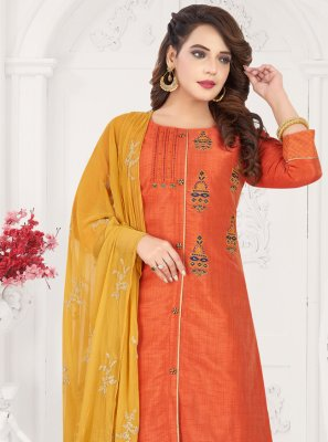 Embroidered Orange Readymade Salwar Kameez