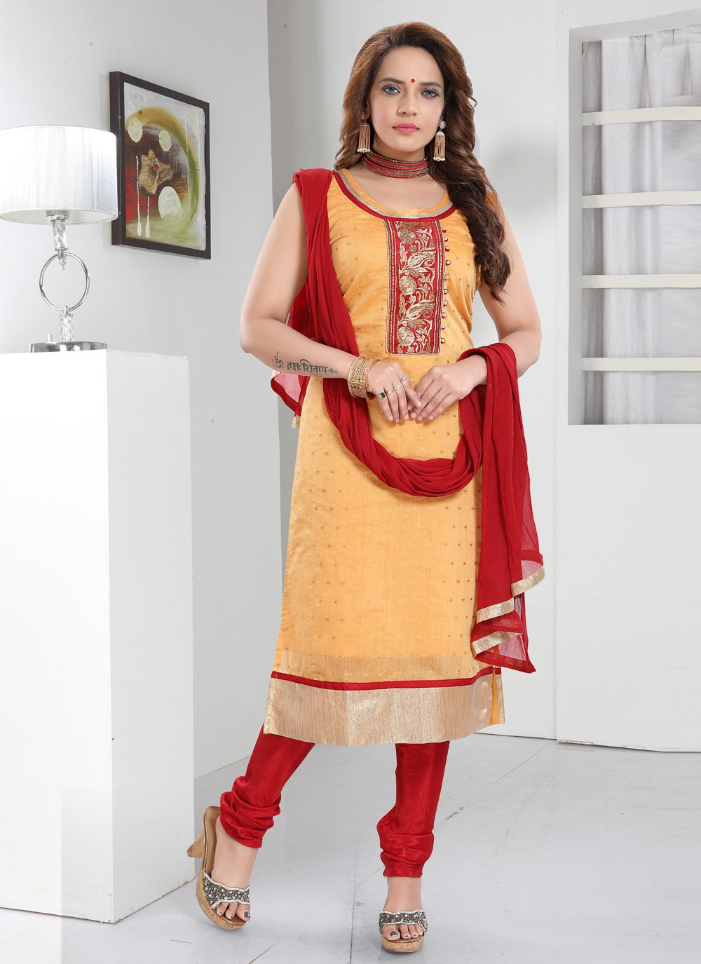 Embroidered Orange Readymade Suit