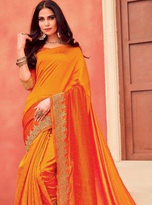 Embroidered Orange Traditional Designer Saree