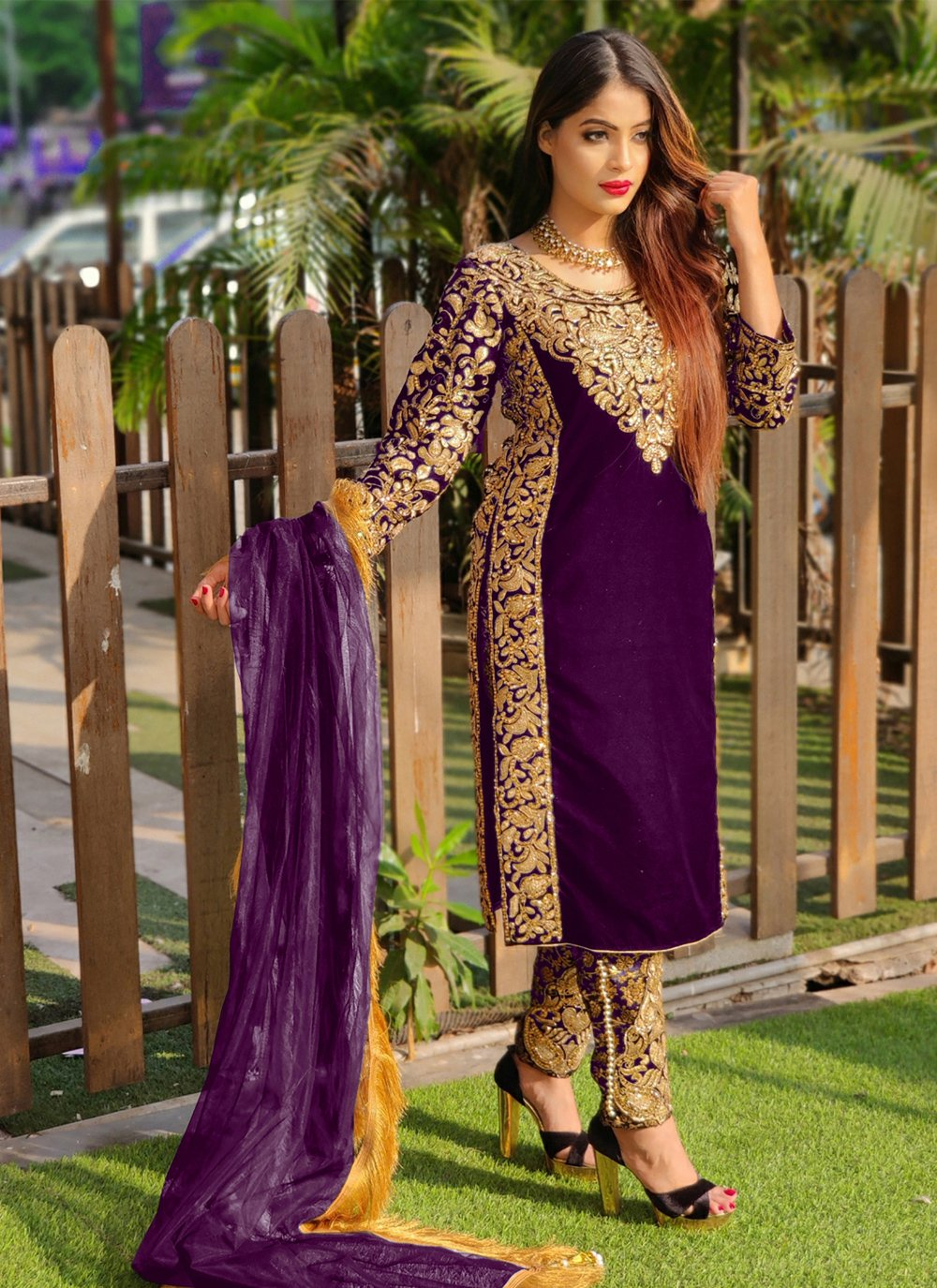 Embroidered Pant Style Suit