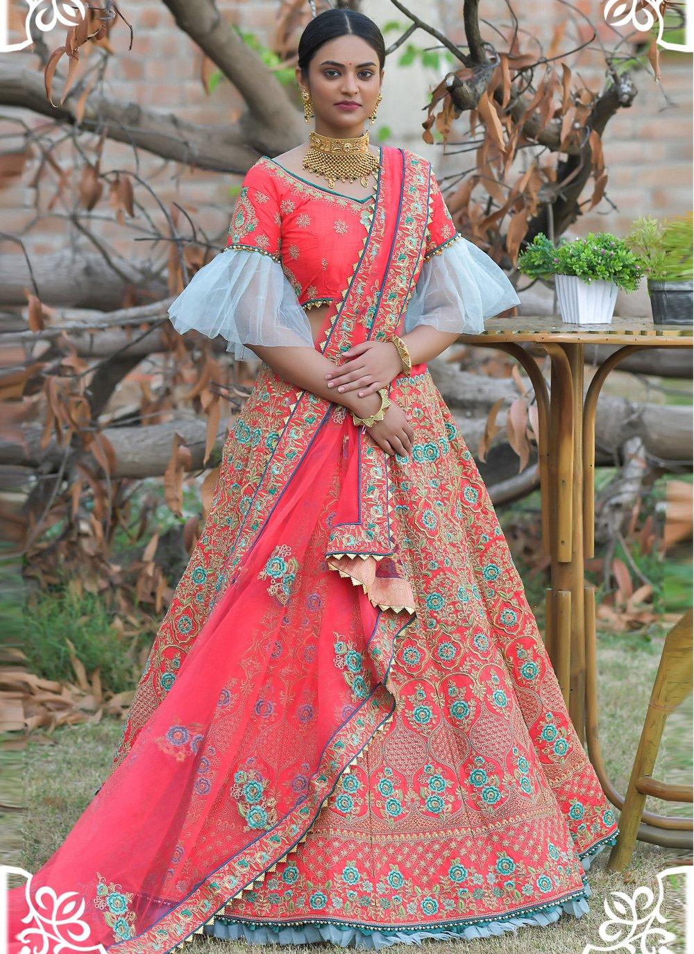 Embroidered Pashnima Silk Lehenga Choli