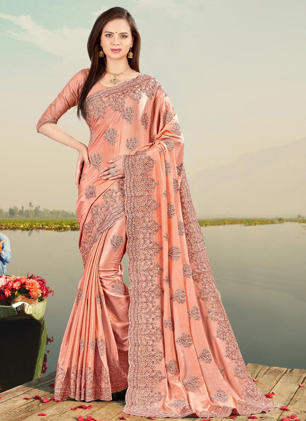 Embroidered Peach Classic Designer Saree