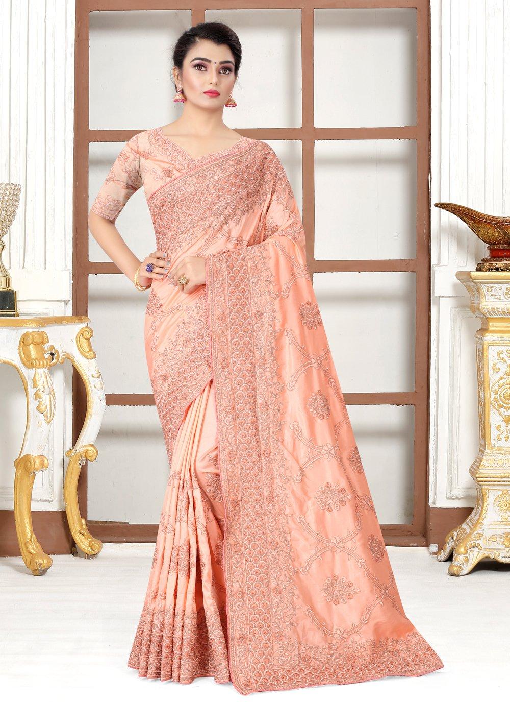 Embroidered Peach Designer Traditional Saree
