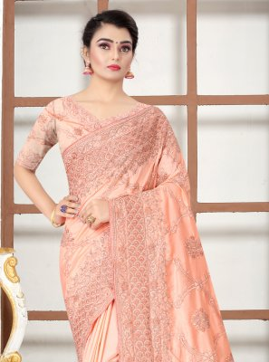 Embroidered Peach Designer Traditional Saree