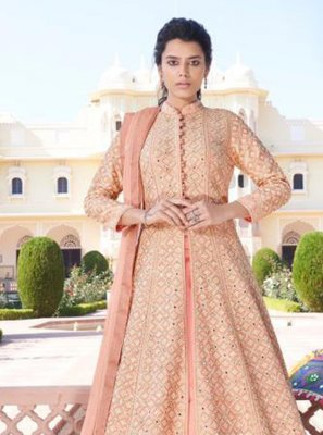 Embroidered Peach Faux Georgette Readymade Anarkali Salwar Suit