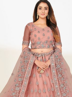 Embroidered Pink A Line Lehenga Choli