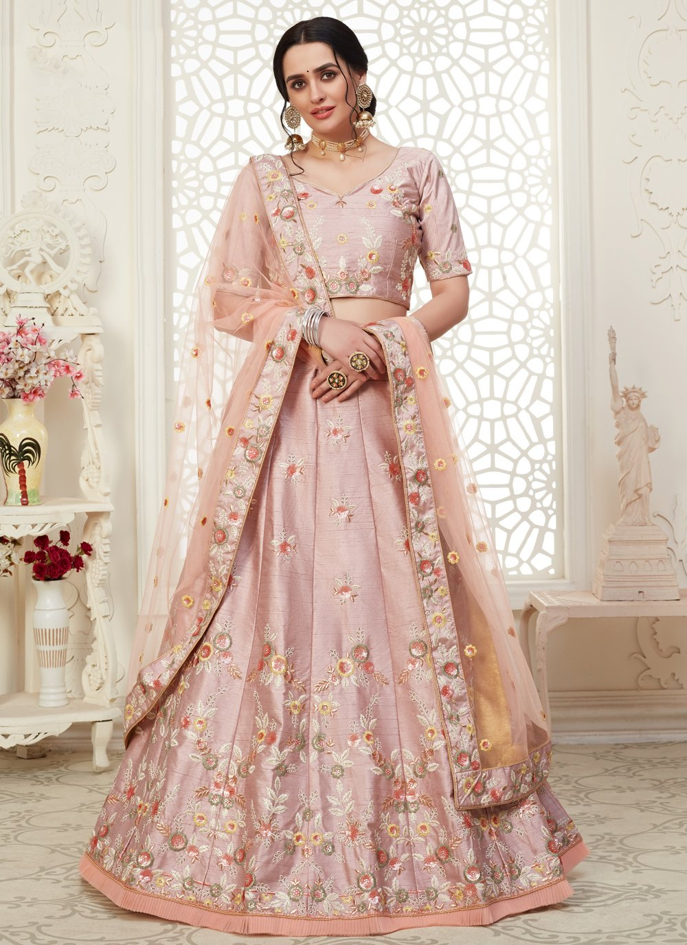 Embroidered Pink Bollywood Lehenga Choli