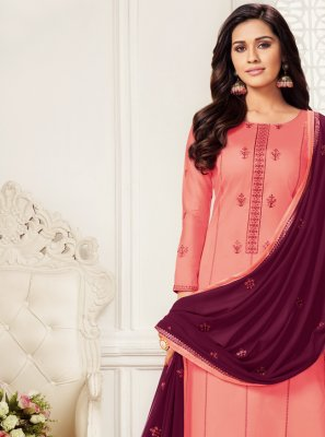 Embroidered Pink Churidar Salwar Suit