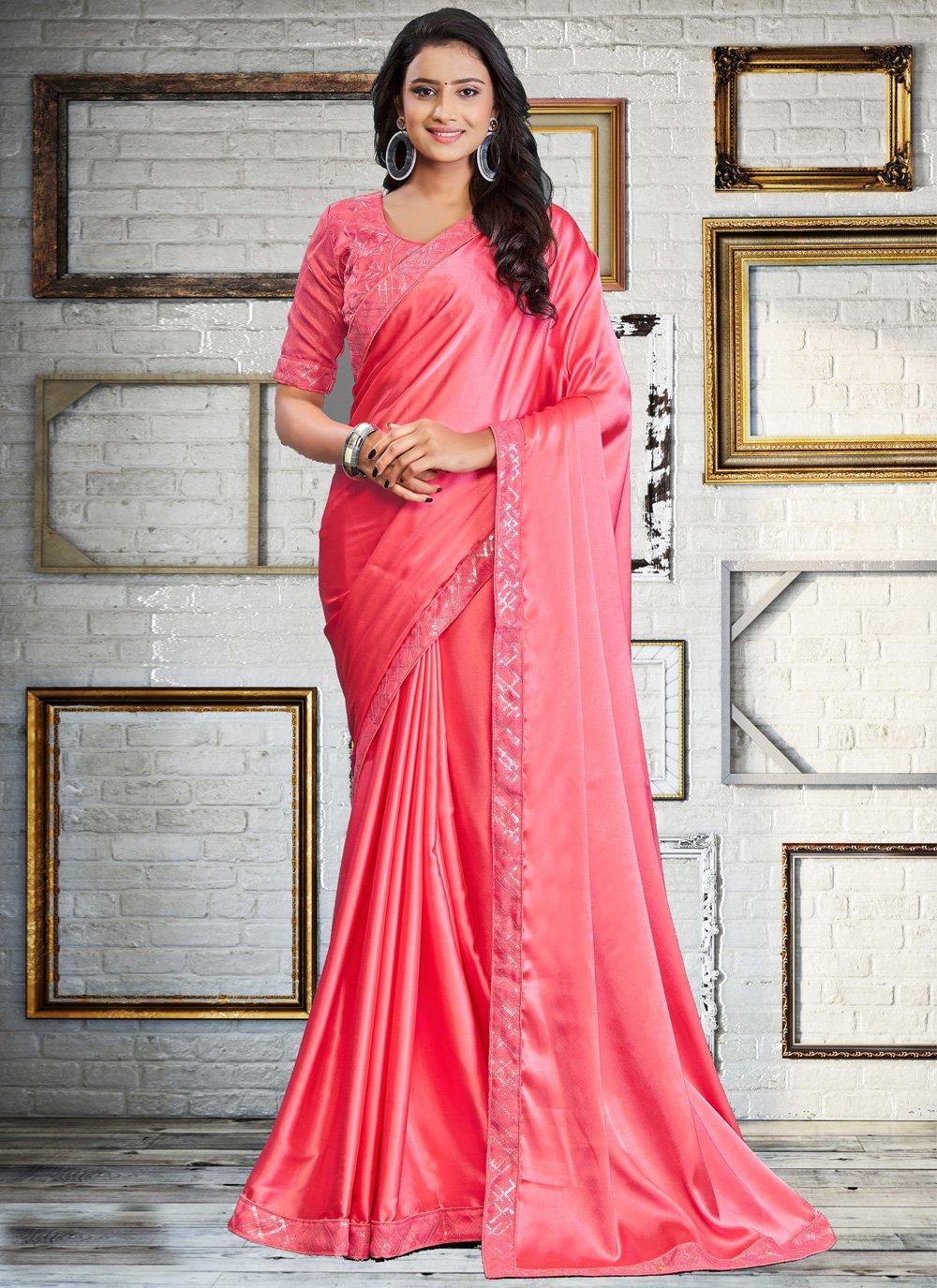 Embroidered Pink Classic Designer Saree