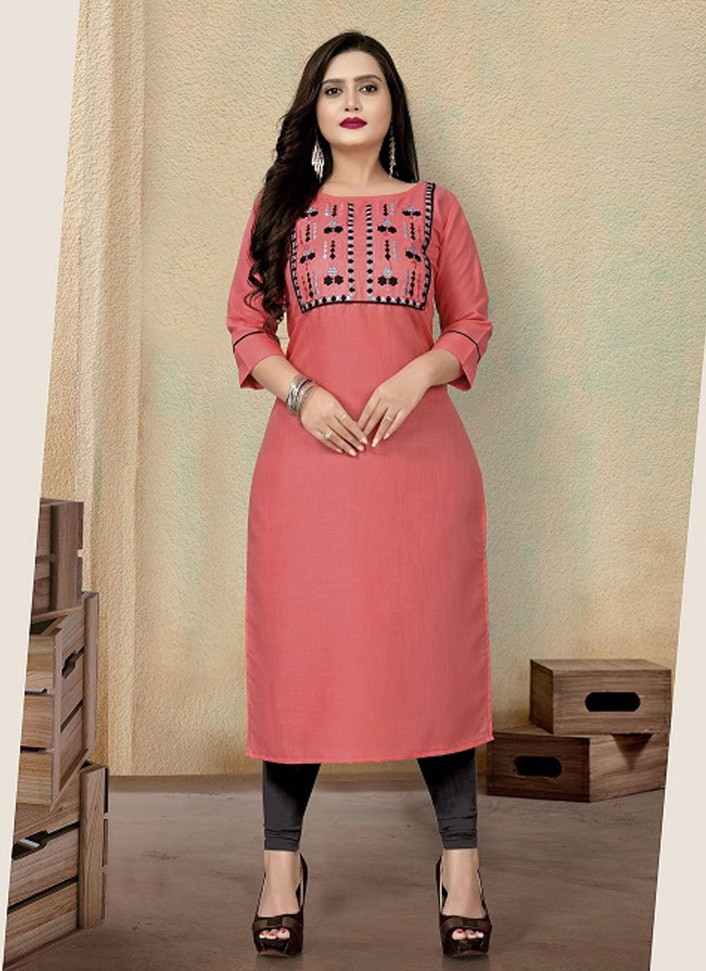 Embroidered Pink Cotton Party Wear Kurti
