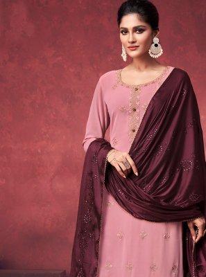 Embroidered Pink Designer Palazzo Salwar Kameez