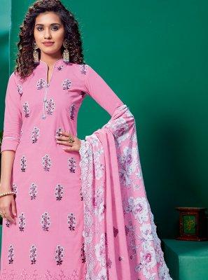 Embroidered Pink Designer Palazzo Salwar Suit