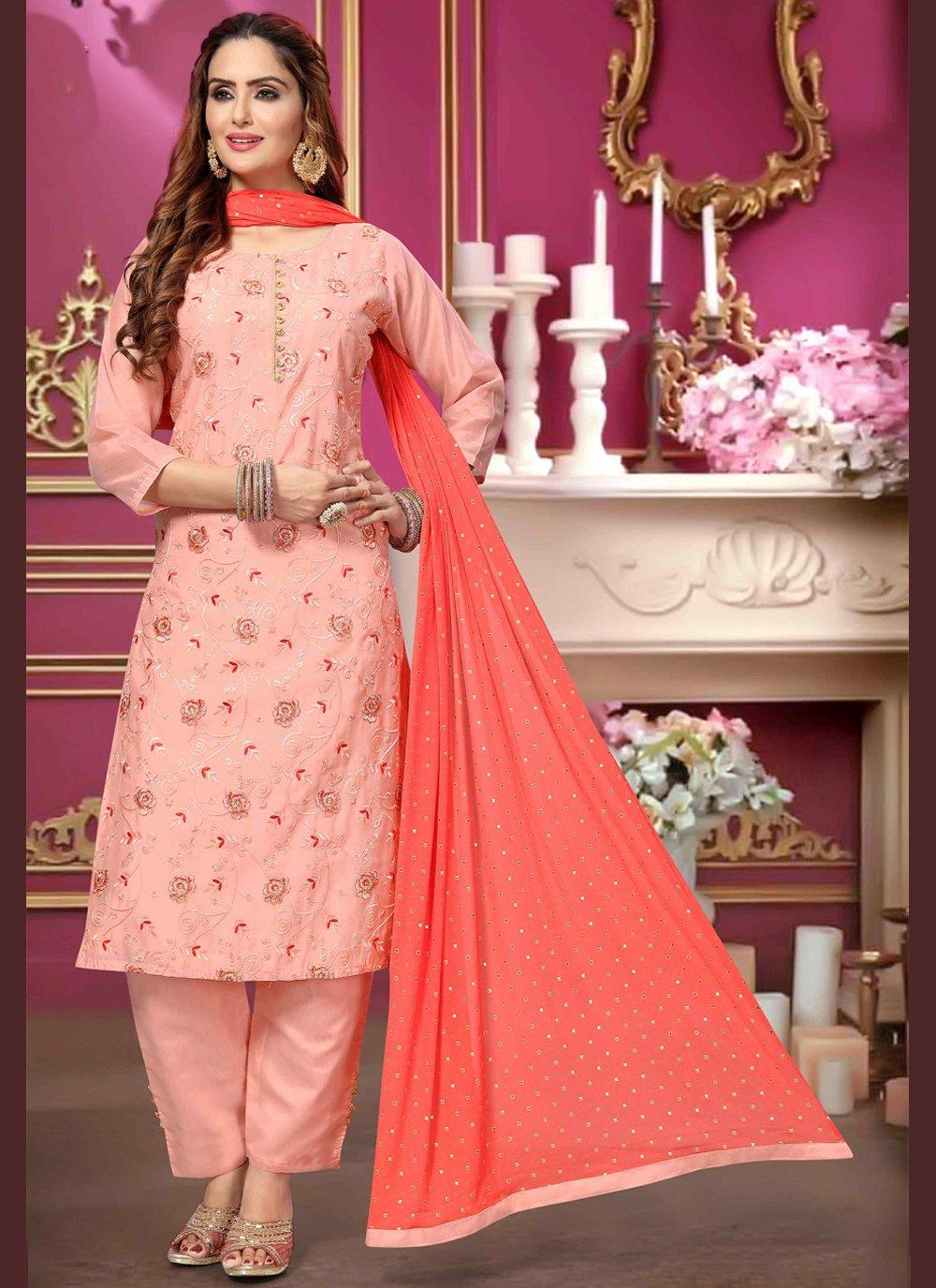 Embroidered Pink Designer Salwar Kameez