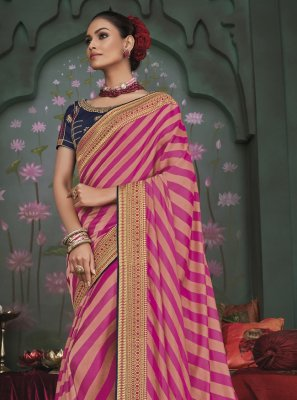 Embroidered Pink Fancy Fabric Trendy Saree