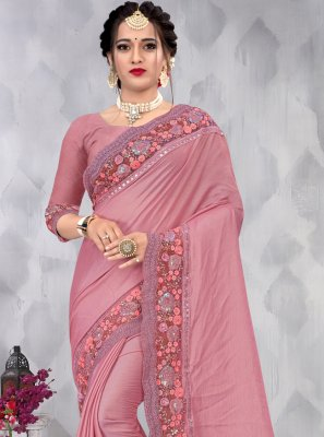Embroidered Pink Faux Chiffon Designer Saree