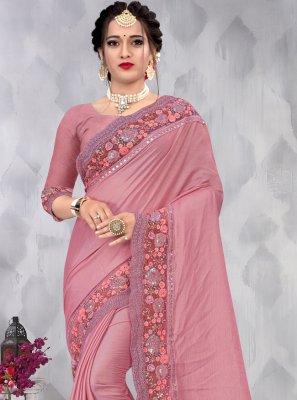 Embroidered Pink Faux Chiffon Designer Saree