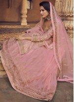 Embroidered Pink Long Choli Lehenga