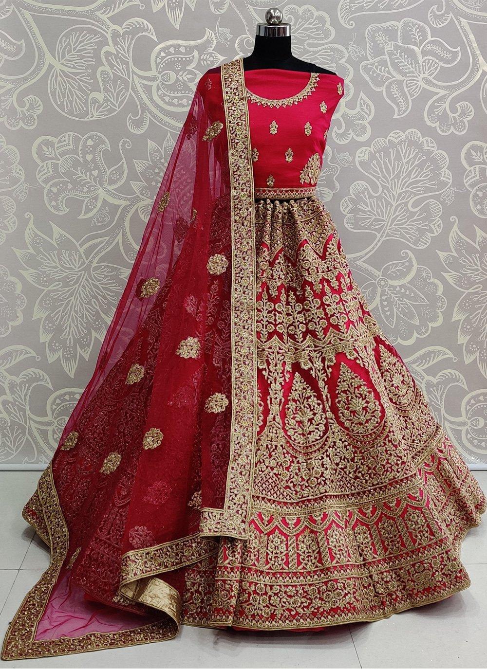 Embroidered Pink Net Bollywood Lehenga Choli