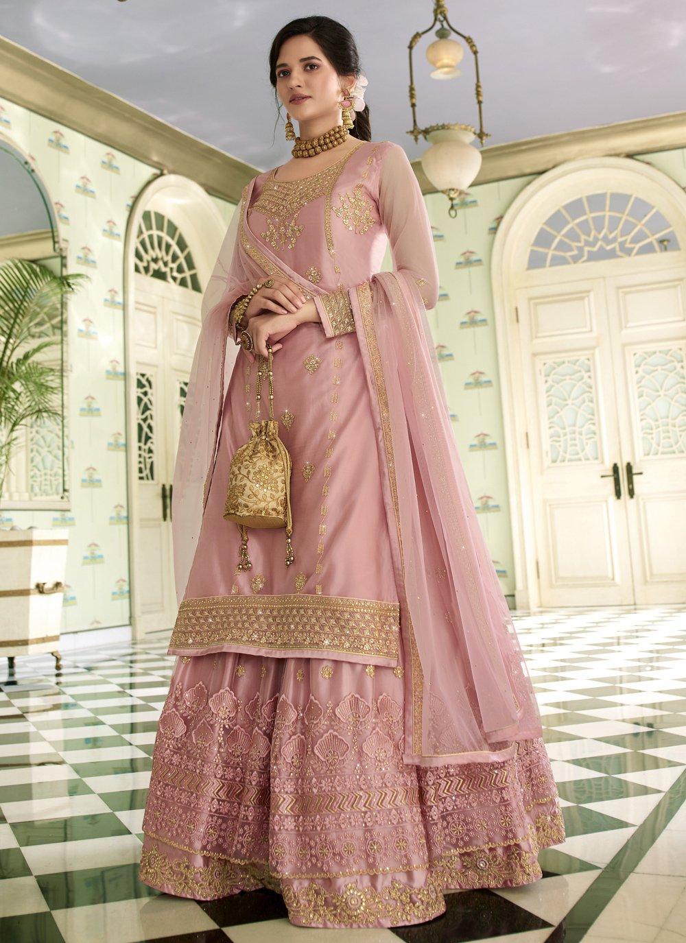 Embroidered Pink Net Designer Long Lehenga Choli