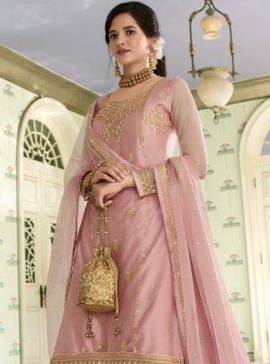 Embroidered Pink Net Designer Long Lehenga Choli