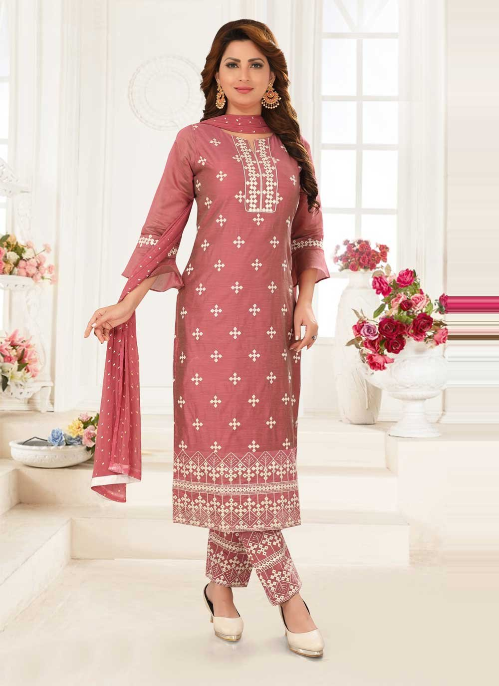Embroidered Pink Poly Silk Readymade Suit
