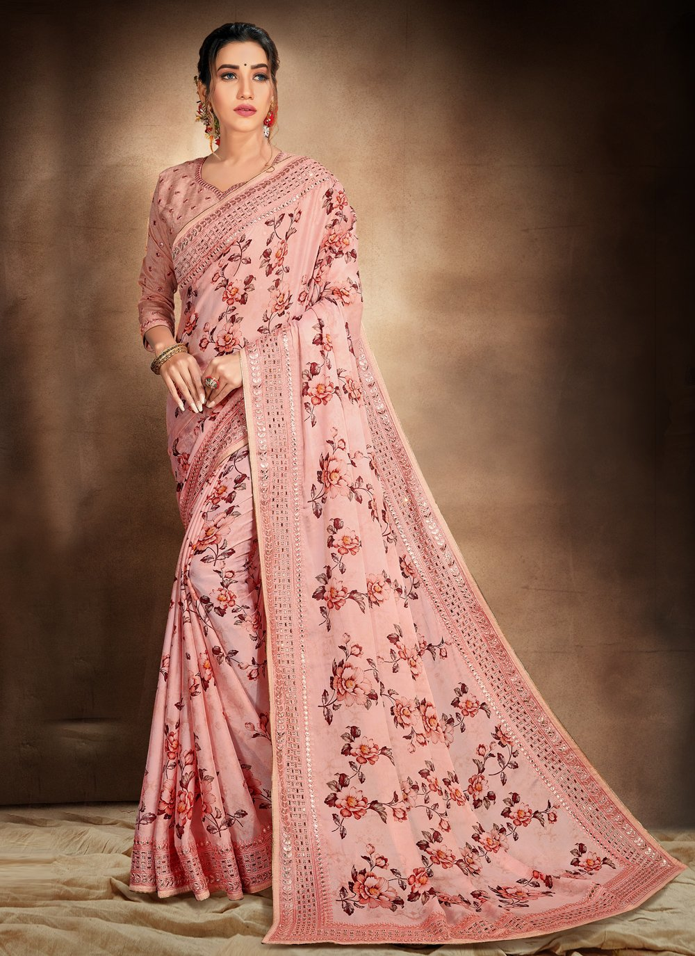 Embroidered Pink Printed Saree